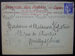1938 Lyon Brasserie Des Archers, La Maison La Plus Gaie De Lyon - Poststempel (Briefe)