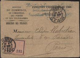 Exposition Universelle Paris 1900 Franchise Ministère Commerce Industrie Postes Télégraphes Recommandé Jeux Olympiques - 1877-1920: Periodo Semi Moderno