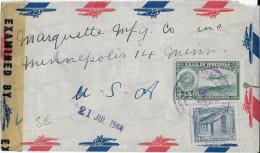 VENEZUELA - 1944 - ENVELOPPE Par AVION Avec CENSURE US De COLON => USA - Venezuela