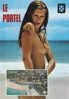 CPSM  De  LE  PORTEL  (62)  -  Jeune Femme Nue Sur La Plage Près De La Ville  //  TBE - Le Portel