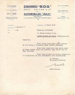 """92 PUTEAUX COURRIER 1948  AUTOMOBILES """" DOLO """" Ets B.D.G.   GALTIER & DOLO - A4 - Automobile"""