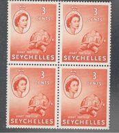 Seychelles1954: Michel171mnh** Block Of 4 TURTLES - Seychelles (...-1976)