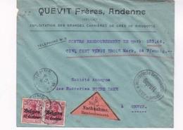 Enveloppe Remboursement Quevit Freres Andenne Censure Huy 19 05 1916 - WW I