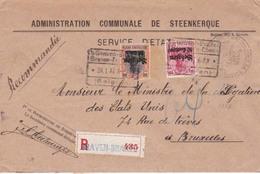 Enveloppe  Admin Com De Steenkerque Recommande Graven Brakel Cachet Ch Fer 31 01 1917 - WW I
