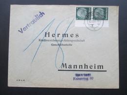 DR Besetzung 2.WK Elsass 1941 Nr. 4 Senkrechtes Paar Vom Bogenrand Mit Reihenzahl 3 MeF Nachporto. RR - Occupation 1938-45