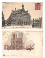 """75 - PARIS . """" Mairie Du XVIIIe Arrond. Montmartre """" & """" La Cathédrale Notre-Dame """" . 2 CARTES POSTALES - Réf. N°7898 - - Unclassified"""