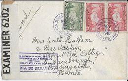 COSTA RICA - 1940 - ENVELOPPE De SAN JOSE Avec CENSURE => ANGLETERRE - Costa Rica