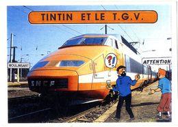 TINTIN  TINTIN ET LE T G V   CREATION JACQUES HIRON  -  TIRAGE LIMITE A 25 EX NUMEROTES  1992  CARTE PIRATE COLLAGE SUR - Stripverhalen