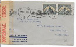 AFRIQUE DU SUD - 1941 - ENVELOPPE Avec CENSURE De JOHANNESBURG Avec MECA => USA - Briefe U. Dokumente