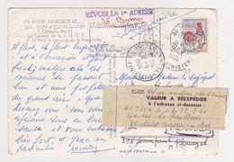 26421 CP Avion Au Dessus Saint Jacut Mer -vignette Valeur à Reexpedier Saint Servan 35 1966-32K - France