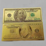 BILLET FACTICE DE 100 $ . PLAQUE COULEUR OR . - Etats-Unis