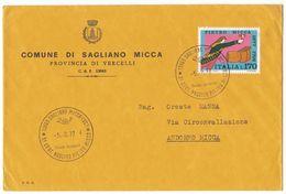 XA163   Tematica Comuni D'Italia: Pietro Micca Su Busta Comune Di Sagliano Micca (Vercelli) 1977 - 6. 1946-.. Repubblica