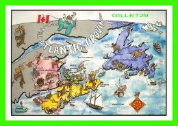 CARTES GÉOGRAPHIQUES - MAP - THE ATLANTIC PROVINCES -  BY JIM LEMIEUX - DIMENSION 12 X 17 Cm - - Cartes Géographiques