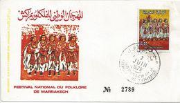 MAROC - ENVELOPPE 1er JOUR - FESTIVAL FOLKLORE MARRAKECH - N° 829 - Maroc (1891-1956)