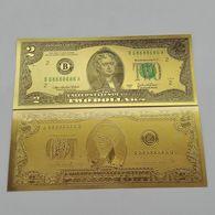 BILLET FACTICE DE 2 $ . PLAQUE COULEUR OR . - Etats-Unis