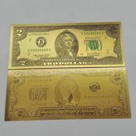BILLET FACTICE DE 2 $ . PLAQUE COULEUR OR . - United States Of America