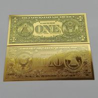 BILLET FACTICE DE 1 $ . PLAQUE COULEUR OR . - United States Of America