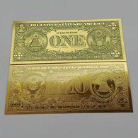 BILLET FACTICE DE 1 $ . PLAQUE COULEUR OR . - Etats-Unis