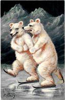 CPA Ellam Ours Blanc Polaire Position Humaine Humanisé Circulé Patinage Patins à Glace - Autres Illustrateurs