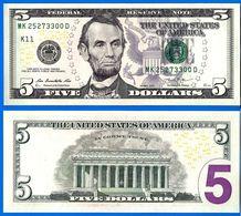 Usa 5 Dollars 2013 Neuf UNC Mint Dallas K11 Suffixe D Que Prix + Port Etats Unis United States Dollars US Skrill Paypal - Bilglietti Degli Stati Uniti (1862-1923)