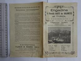 TRANSPORT  EXCURSIONS ENGANDINE NOUVELLE ROUTE DES DOLOMITES ET TYROL 1911 AGENCE LUBIN - Europe