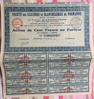 Société Des Glacières Et Blanchisserie De Normandie - Trouville - Action Au Porteur 1927 - Agriculture