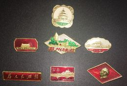 Lot 7 Pin's - China - Chine - Chinese Mao Tsé Tung - Mao Zedong - Chairman China - Vintage Pin Badge - Personnes Célèbres