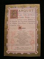 Ancien Menu Banquet Baron LOUIS GILLES DE PELICHY ET XAVIER MEEUS Chapelle St Sacrement Notre Dame ANVERS 1884 - Menus