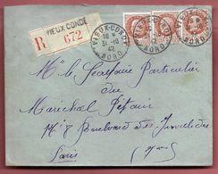 Enveloppe Recommandée De Vieux Condé Pour Les Oeuvres Sociales De Mr Le Maréchal Pétain - 1942 Militaria - Marcofilie (Brieven)