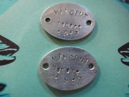 2 Plaques D'identité VINCENT, Recrutement NICE, 159ème RI, 99ème RI,76ème RI - 1914-18