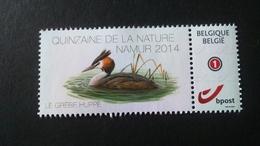 """BUZIN - Duostamps: Quinzaine De La Nature - Namur 2014 """" Le Grèbe Huppé """" - Timbres Personnalisés"""