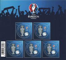 FRANCE 2016 BF137 NEUF ** - EURO 2016 UEFA Football 3D Verni , Bloc-feuillet 1,00 € X 5 Timbres - Sheetlets