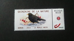 """BUZIN - Duostamps: Quinzaine De La Nature - Namur 2015 """" Le Merle Noir """" - Private Stamps"""