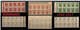 RUSSIA 1916 / 17 - ROMANOV Con ISCRIZIONE Al VERSO - N. 134 /36 **  - Cat. 240 € - Lotto N.  3344 - 1857-1916 Impero