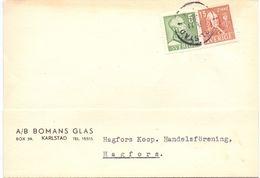 Brevkort - Briefkaart - Stempel Cachet Karlstad  - Hagfors - Pub Reclame Bomans Glas - Suède