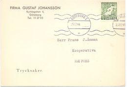 Brevkort - Briefkaart - Stempel Cachet Göteborg 1944 - Hagfors - Pub Reclame Gustaf Johansson - Suède