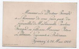 Faire-Part/ Fiancailles / Docteur Evrard/ Caroline Evrard  Et Octave Labasse/Négociant à Bordeaux /EPERNAY/1900   FPM39 - Engagement