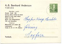 Brevkort - Briefkaart - Hagfors - Pub Reclame Bernhard Andersson - Torsas 1947 - Suède