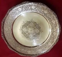 Periodo Della Dinastia Qajar Persia 1800-900 Piatto Frutta O Dolce In Argento,incisioni Interamente A Mano - Silberzeug