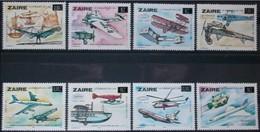 Zaire 1985 Ocbn°  1258-1265  *** MNH Cote 12,00 Euro Avions Vliegtuigen Airplanes - Zaïre