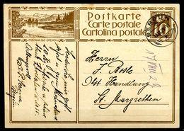 """Schweiz 1929 Bildpostkarte Mi.Nr.P132,10 Rappen,braun""""Montana-Lac-Grenon""""bef.""""Bergün-St.Margrethen """"1 GS Used - Stamped Stationery"""