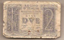 """Italia - Banconota Circolata Da 2  Lira """"Impero"""" P-27 - 1944 - [ 1] …-1946 : Regno"""