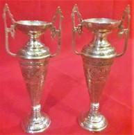 Periodo Della Dinastia Qajar Persia 1800-900 - La Coppia Dei Vasi In Argento,incisioni Interamente A Mano - Argenteria