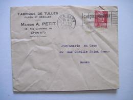 1948 MAISON A. PETIT LYONS 1er FABRIQUE DE TULLES Filets Et Résilles - Marcophilie (Lettres)