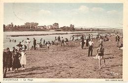 71. CPA. Saône Et Loire. Fleurville. La Plage (animée, Enfants, Baignade) - France