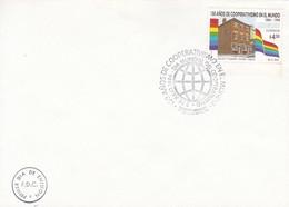 FDC-150 AÑOS DE COOPERATIVISMO EN EL MUNDO, DIA MUNDIAL DEL COOPERATIVISMO. BORD DU PLAQUE.-URUGUAY-TBE-BLEUP - Uruguay