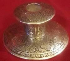 Periodo Della Dinastia Qajar Persia 1800-900 -Portacandela In Argento ,incisioni Interamente A Mano - Argenteria