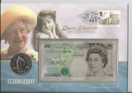 Great Britain 2000 - Queen Mother £5 Coin & £5 Banknote FDC - 1971-… : Monedas Decimales