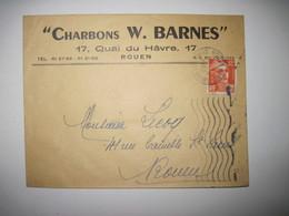 """1952 """"CHARBONS W. BARNES""""  ROUEN - Marcophilie (Lettres)"""