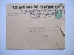 """195. """"Charbons W. BARNES""""  ROUEN - Marcophilie (Lettres)"""